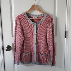 LOFT coral and gray cardigan